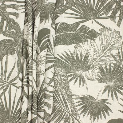 Upholstery fabric with parrots - military green