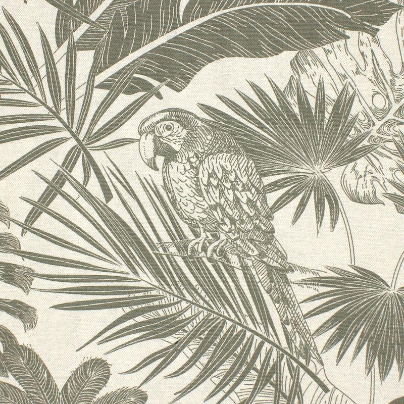 Meubelstoffen met papegaaien - legergroen