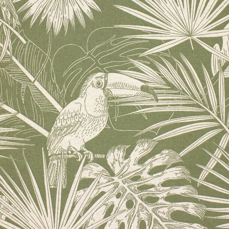 Upholstery fabric with parrots - sage green