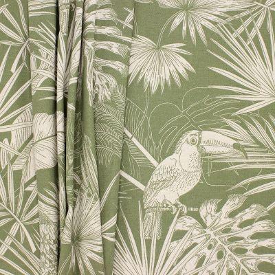 Tissu ameublement perroquet - vert sauge