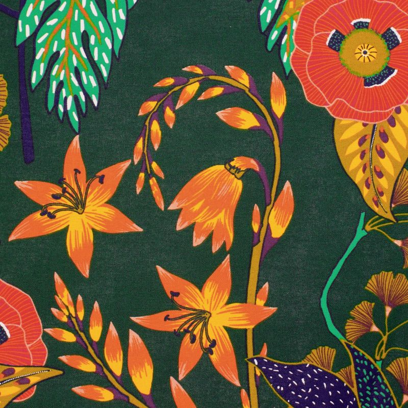 Cotton upholstery fabric with flowers - multicolored