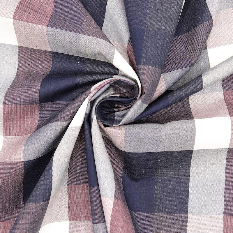 Tissu jacquard à carreaux - bleu/rouge