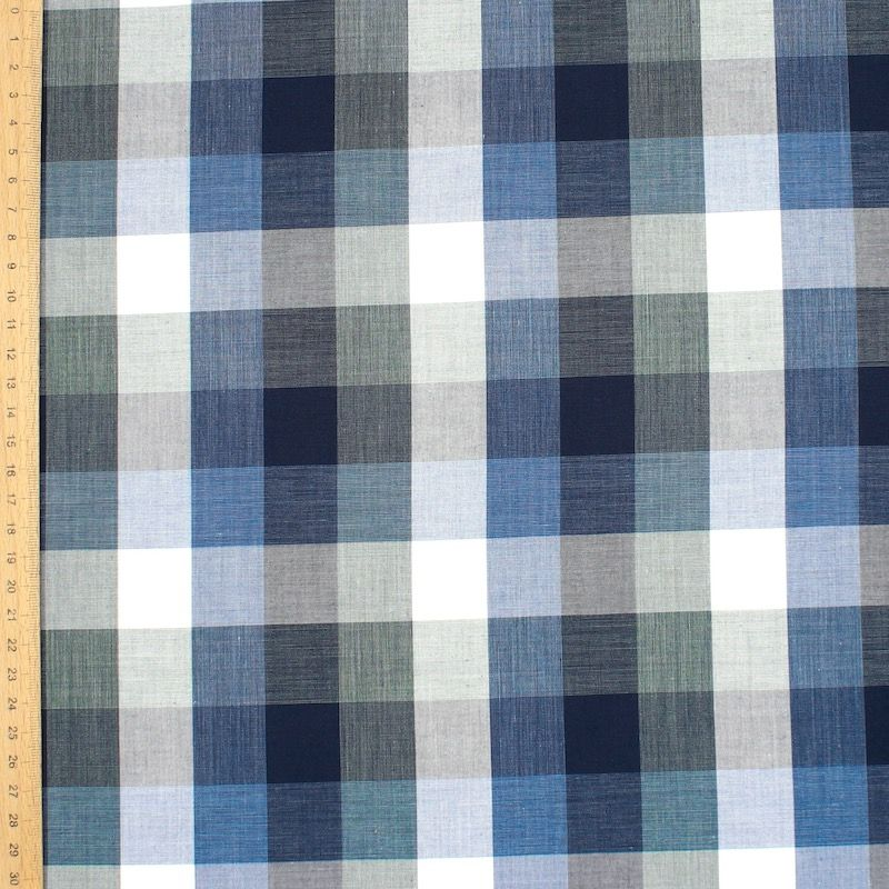 Checkered jacquard fabric -  blue