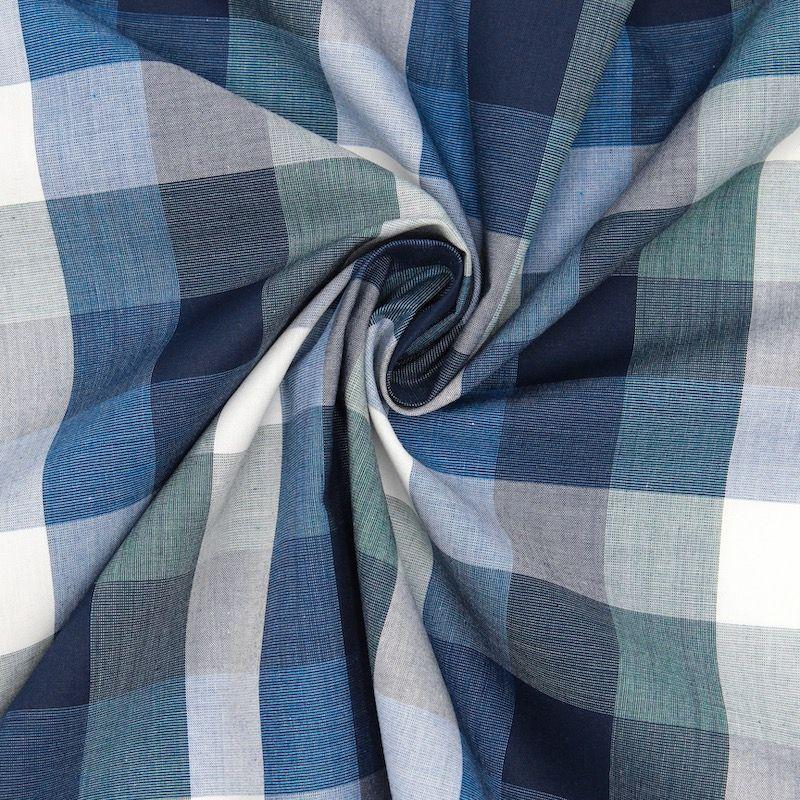 Geruite jacquardstof - blauw