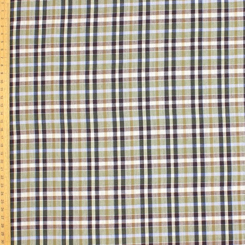 Checkered jacquard fabric - beige / green