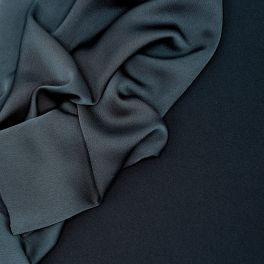Crêpe fabric with satin wrong side - midnight blue