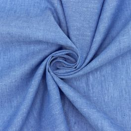 Cotton veil with flamed linen aspect - blue