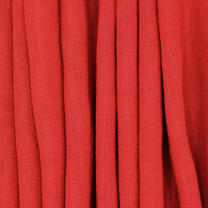 100% washed linen fabric - plain red