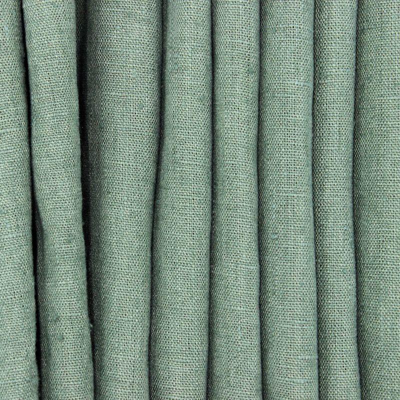 100% washed linen fabric - plain spurce green