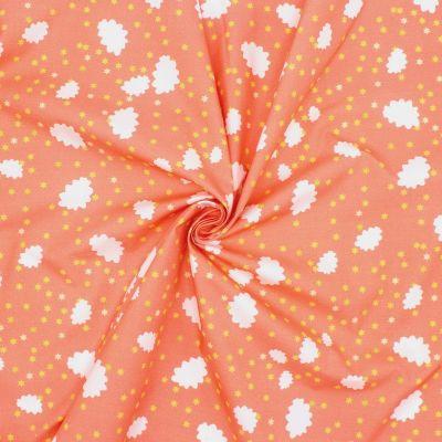 Popeline de coton nuages et étoiles - orange