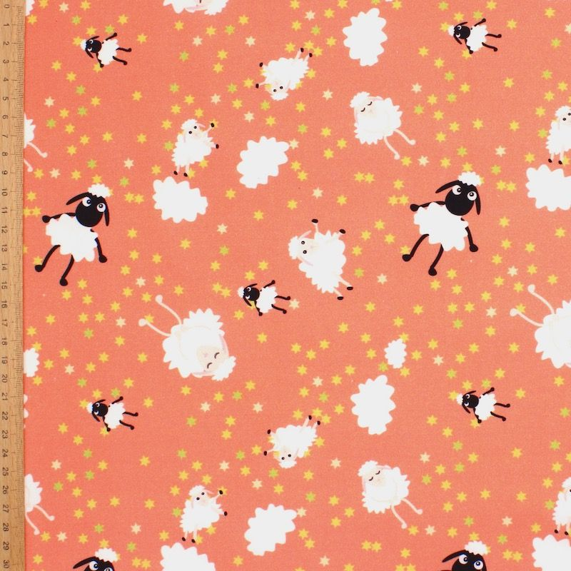 Poplin of cotton with sheep - orange