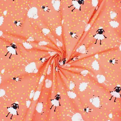 Popeline de coton moutons - orange