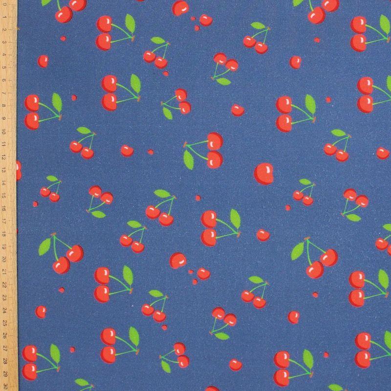 Popeline van katoen met kersen - marineblauw