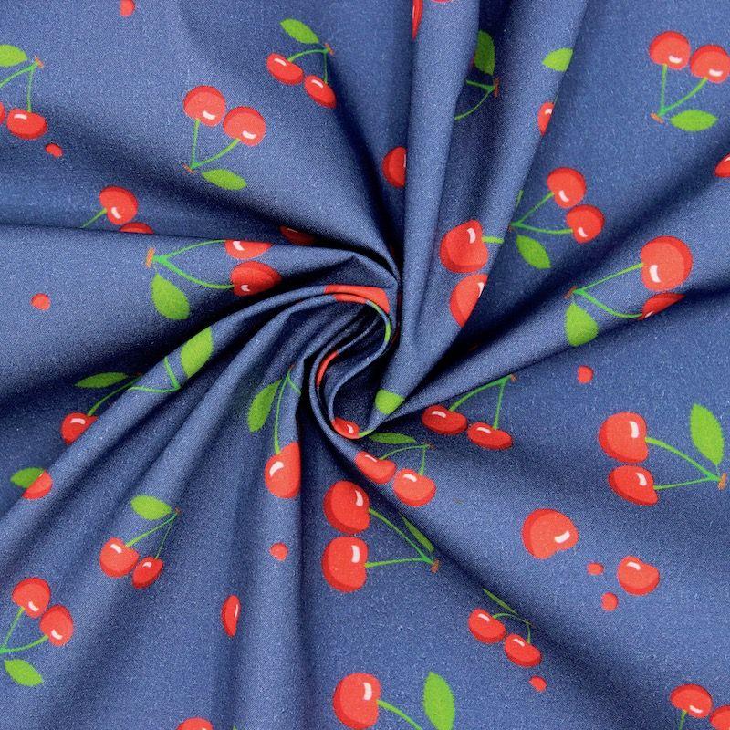 Poplin of cotton with cherries - navy blue
