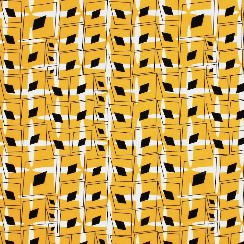 Popeline van katoen grafische motief - mosterdgeel