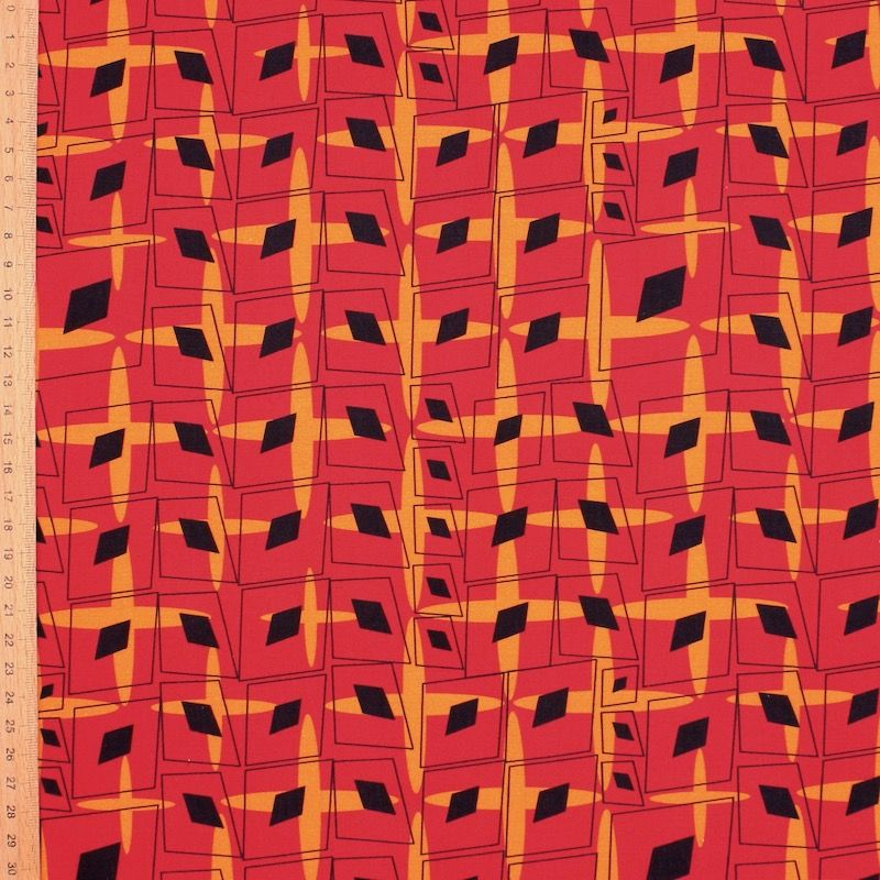 Poplin of cotton with graphic print - red/orange
