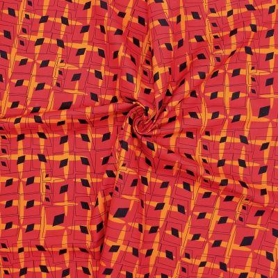 Popeline de coton graphique - rouge/orange