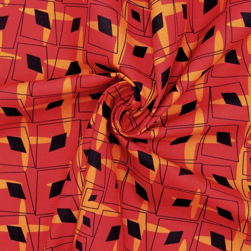 Popeline van katoen grafische motief - rood/oranje