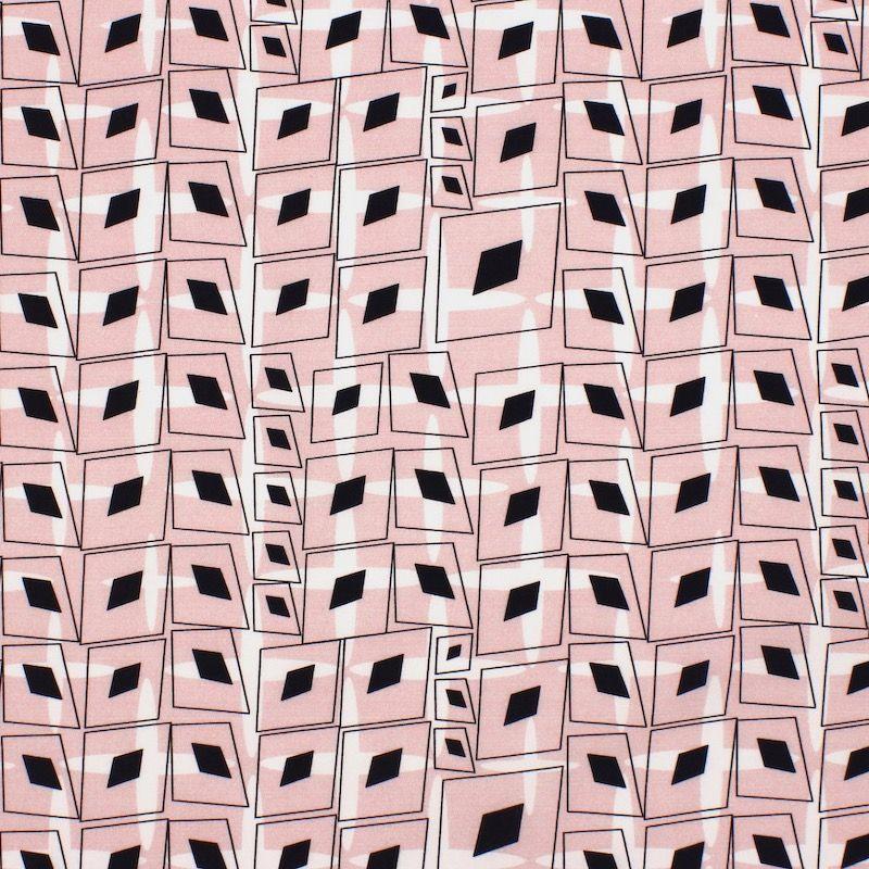 Popeline van katoen grafische motief - roos
