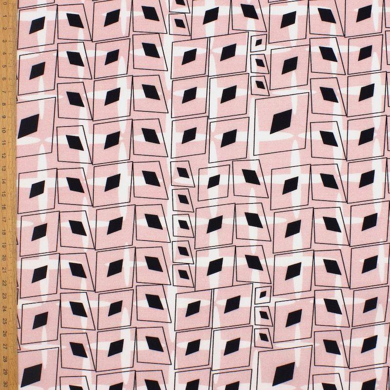 Popeline de coton graphique - rose
