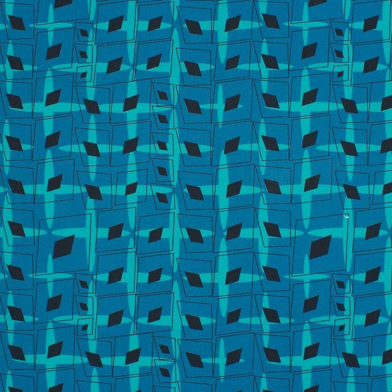 Popeline de coton graphique - bleu
