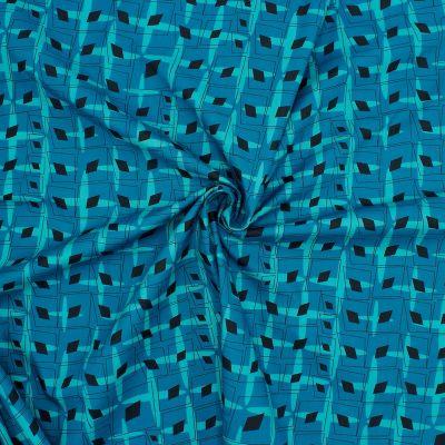 Popeline van katoen grafische motief - blauw