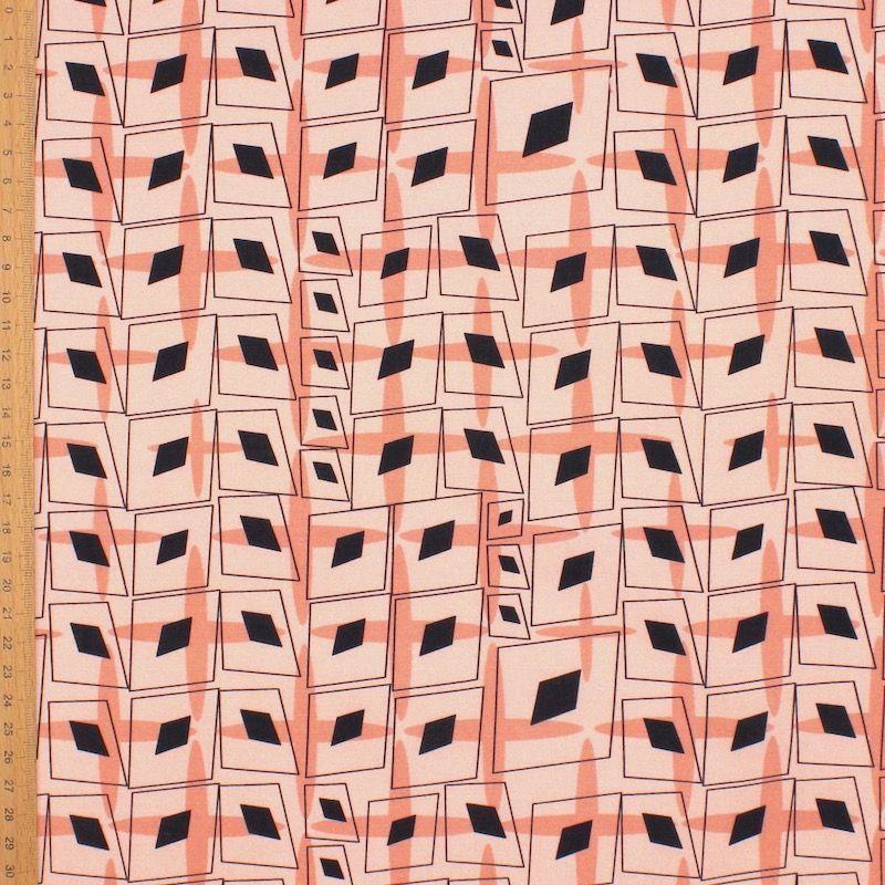 Popeline van katoen grafische motief - zalmroos