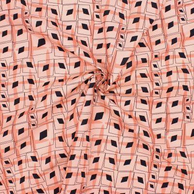 Poplin of cotton with graphic print - salmon