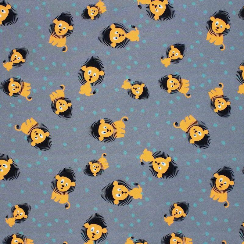 Popeline van katoen met leeuwen - grijs