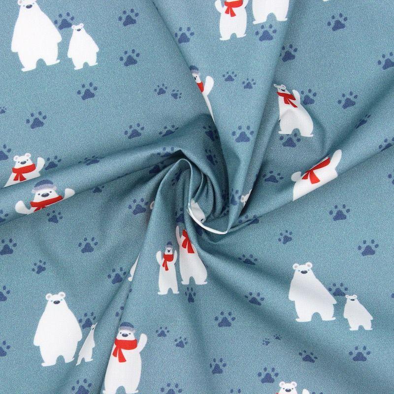 Popeline van katoen ijsbeer met sjaal - celadonblauw