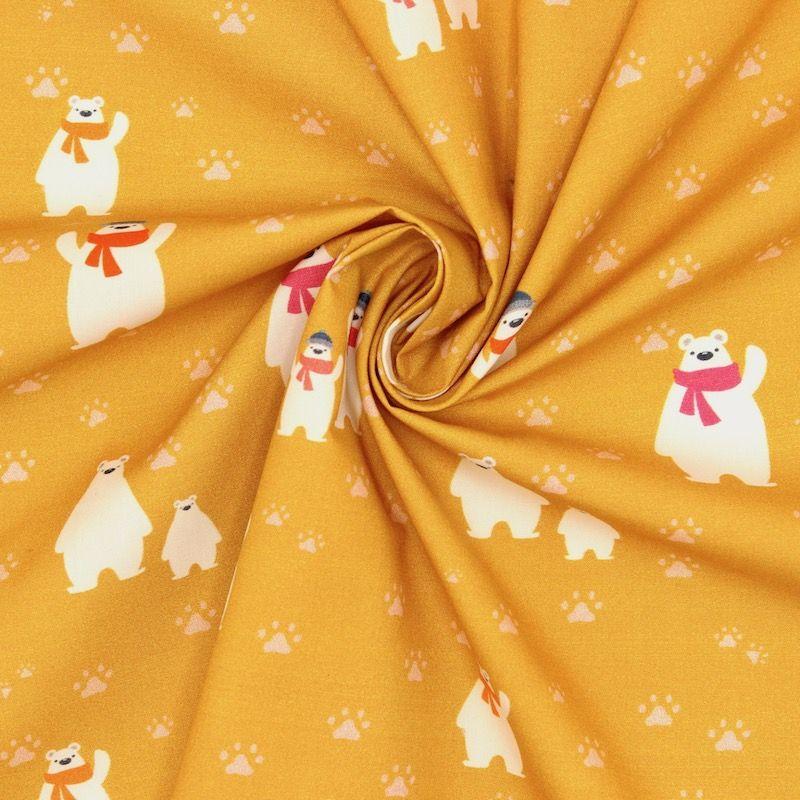Popeline van katoen ijsbeer met sjaal - saffraan