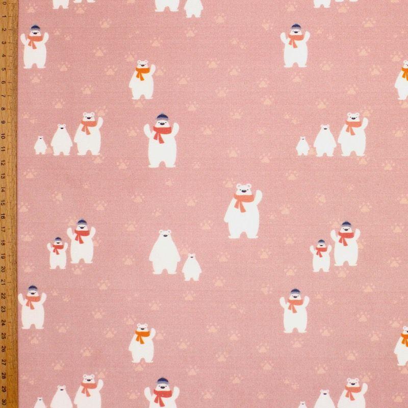 Popeline van katoen ijsbeer met sjaal - roos