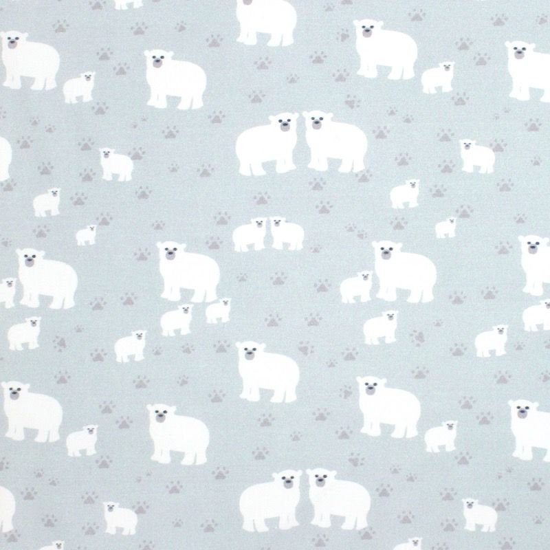 Popeline van katoen met  ijsbeer - grijsblauw