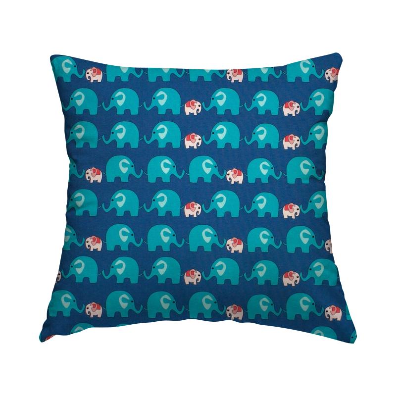 Popeline van katoen met olifant - blauw