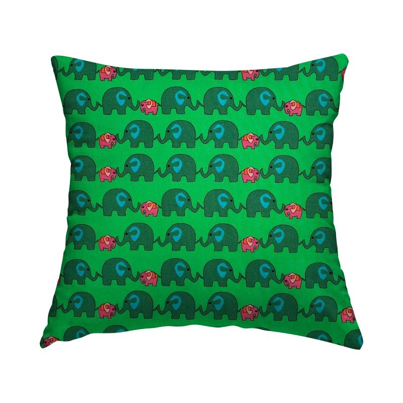 Popeline van katoen met olifant - groen