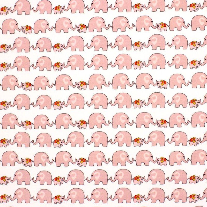 Popeline van katoen met olifant - wit