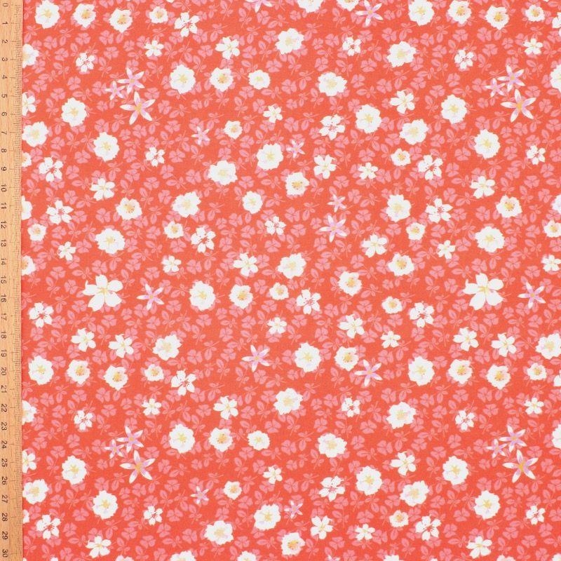 Tissu viscose fleurs automne - corail