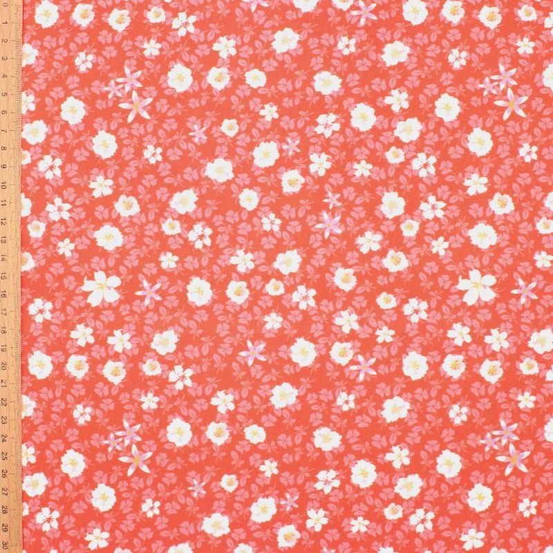 Viscose fabric with autumn flowers - coral