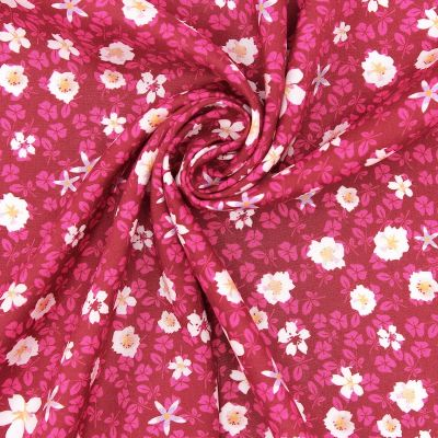 Viscose fabric with autumn flowers - burgondy