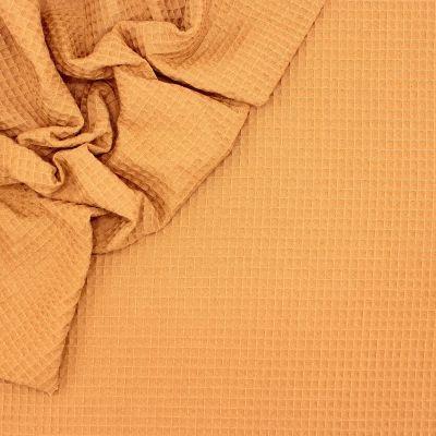 Piqué de coton gaufré nid d'abeille camel