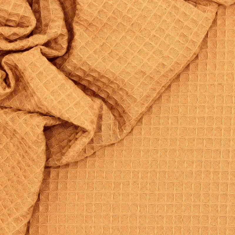 Piqué cotton with honeycomb pattern - camel