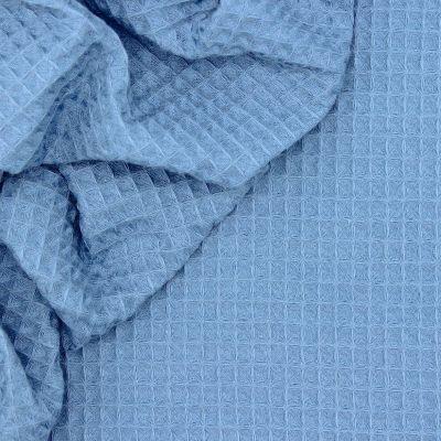 Piqué cotton with honeycomb pattern - denim