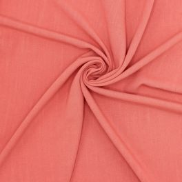 Fabric in viscose and linen - coral