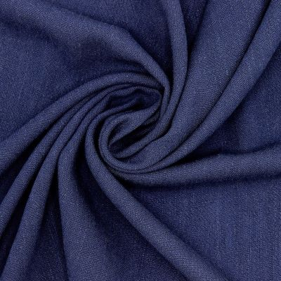 Fabric in viscose and linen - navy blue