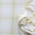 Beige and green checked cotton fabric on white background