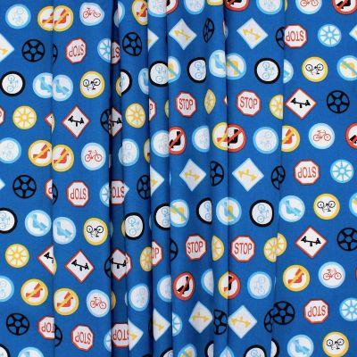 Tissu coton panneaux signalisation - bleu