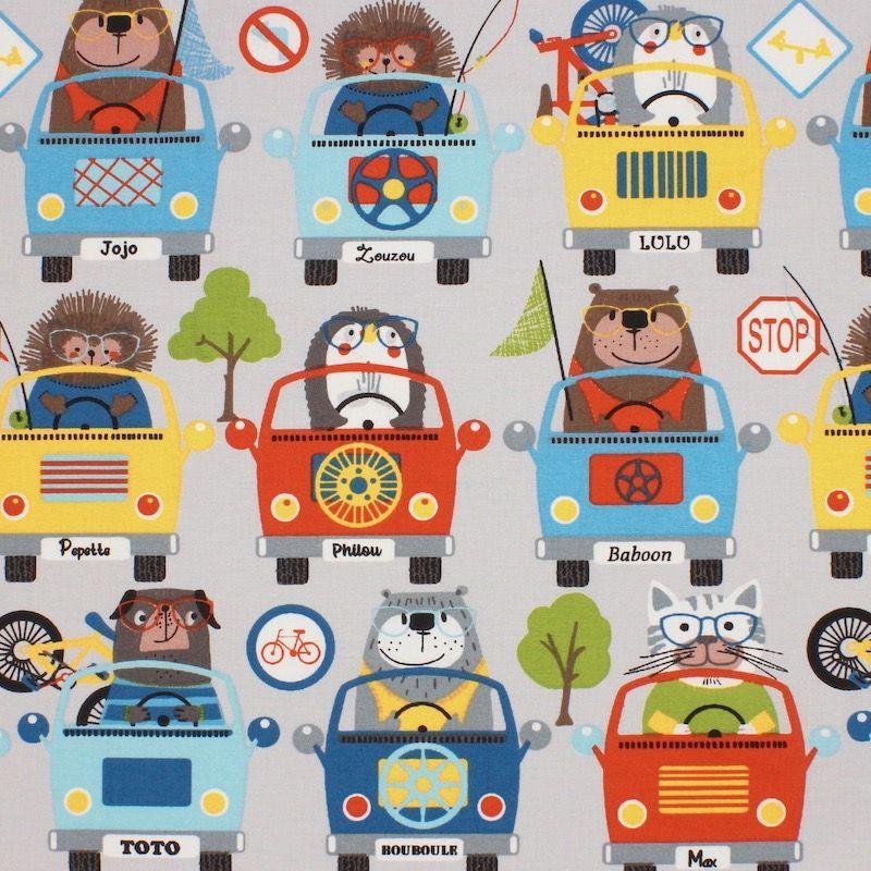 Katoen met dieren en auto's - grijs