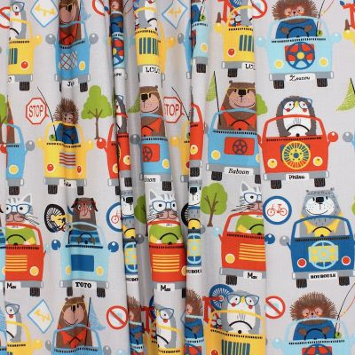 Cotton with animals and cars - grey