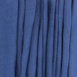 100% washed linen - plain midnight blue
