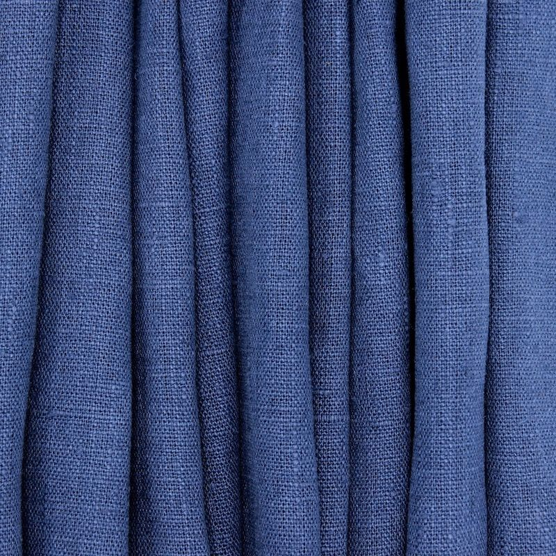 Tissu en 100% lin lavé uni bleu nuit